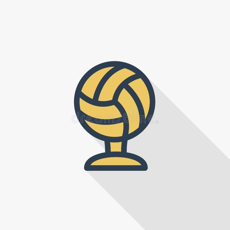 Bawi się filiżankę, złotej siatkówki piłki koloru cienka kreskowa płaska ikona Liniowy wektorowy symbol Kolorowy długi cienia pro ilustracja wektor