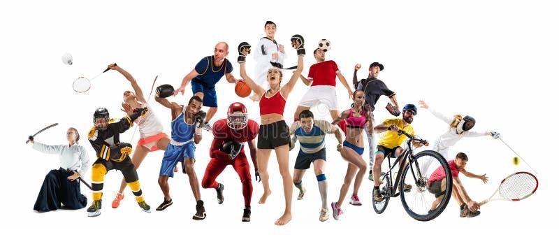 Bawi się kolaż o kickboxing, piłka nożna, futbol amerykański, koszykówka, lodowy hokej, badminton, Taekwondo, tenis, rugby obraz royalty free