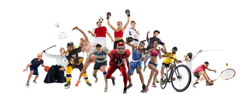 Bawi się kolaż o kickboxing, piłka nożna, futbol amerykański, koszykówka, lodowy hokej, badminton, Taekwondo, tenis, rugby fotografia royalty free