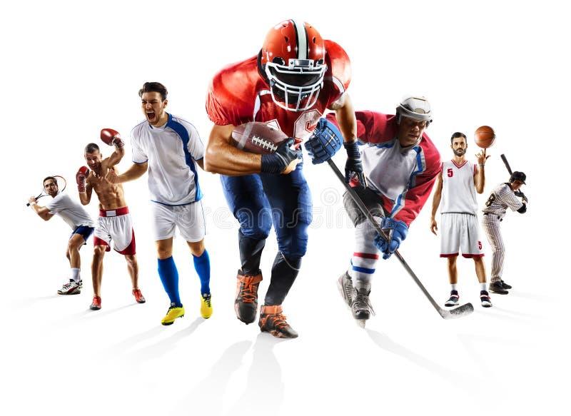 Bawi się kolaż piłki nożnej futbolu amerykańskiego koszykówki bokserskiego baseballa lodowego hokeja etc obraz stock