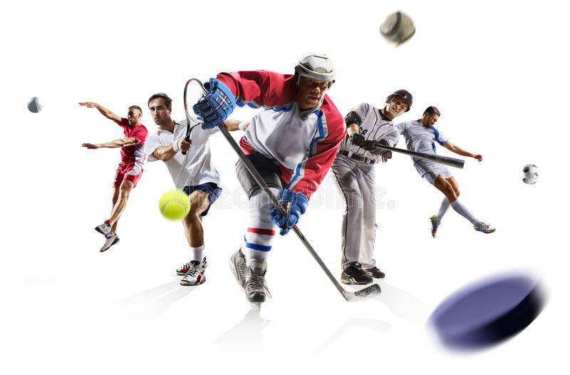 Bawi się kolaż siatkówki baseballa lodowego hokeja tenisową futbolową piłkę nożną etc zdjęcie stock