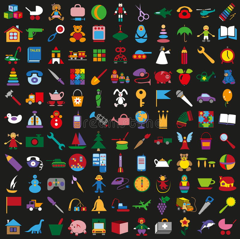 Bawi się kolorowe ikony na czarnym tle royalty ilustracja