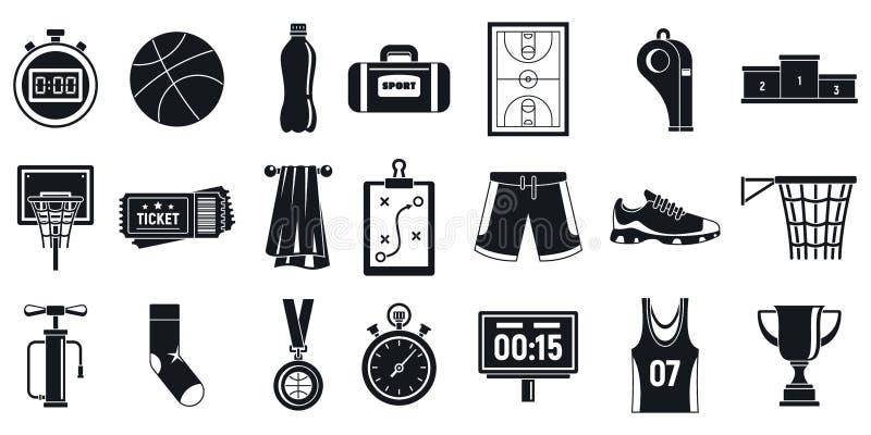 Bawi się koszykówki wyposażenia ikony ustawiać, prosty styl ilustracja wektor