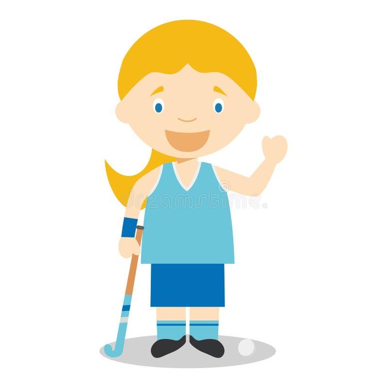 Bawi się kreskówek wektorowe ilustracje: Hokej (kobieta) ilustracji