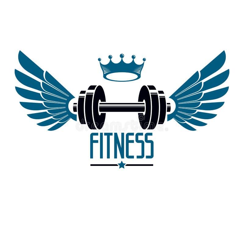 Bawi się loga dla weightlifting gym i sprawność fizyczna klubu, rocznika styl ilustracja wektor