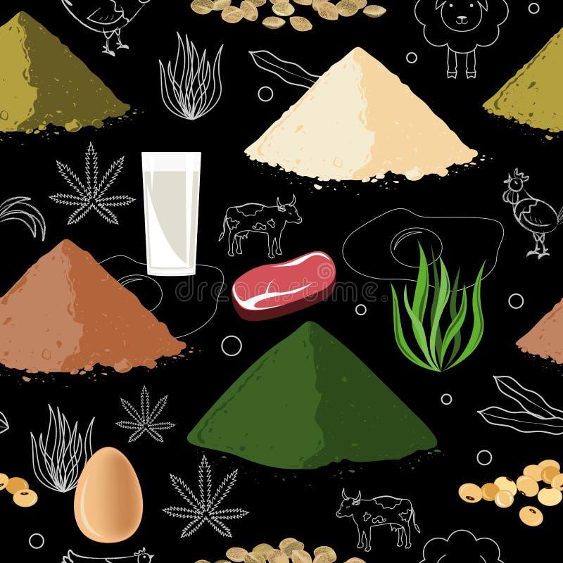 Bawi się odżywianie bezszwowego wzór Proteinowy jedzenia i proteiny proszek ilustracja wektor