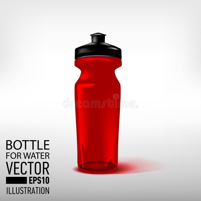 Bawi się, plastikowa butelka dla wodnego czerwonego koloru również zwrócić corel ilustracji wektora zdjęcia stock