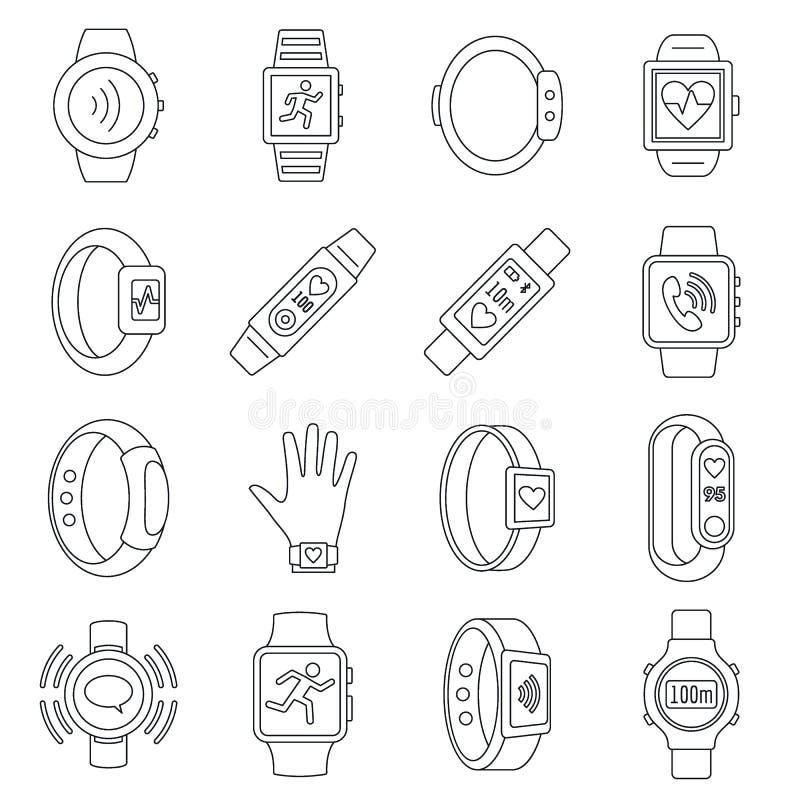 Bawi się sprawność fizyczna tropiciela ikony set, konturu styl ilustracji