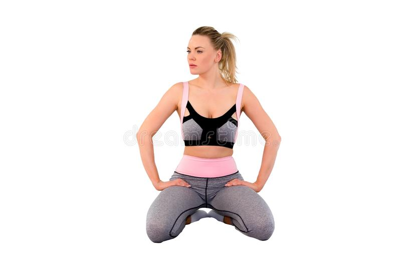 Bawi się sprawności fizycznej kobiety leggings, Młodą piękną dziewczyny z długie włosy w i rajstopy _Image, sporty wierzchołki zdjęcie stock