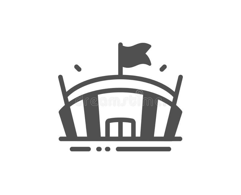 Bawi się stadium ikonę Arena z flaga znakiem Sporta kompleks wektor ilustracja wektor