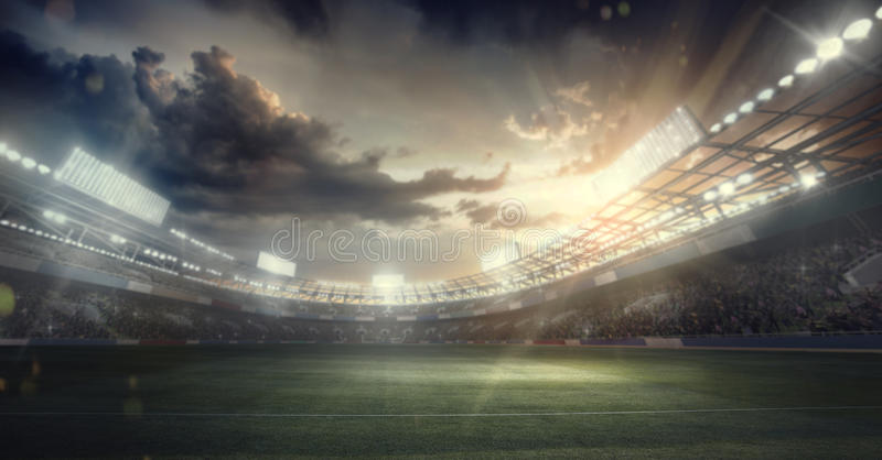 Bawi się tło stadion sportowy arena deszczu royalty ilustracja