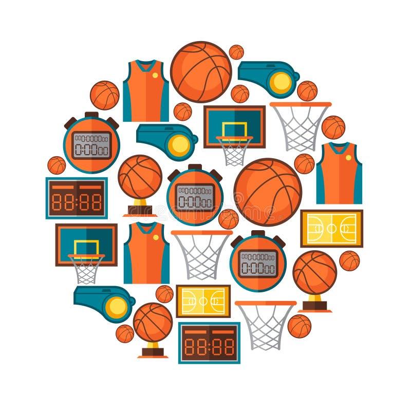 Bawi się tło z koszykówek ikonami w mieszkaniu ilustracja wektor