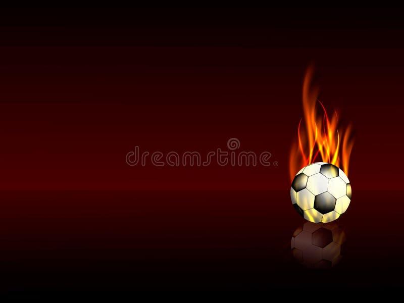 Bawi się tło z płonącą futbolową piłką z odbiciem ilustracji