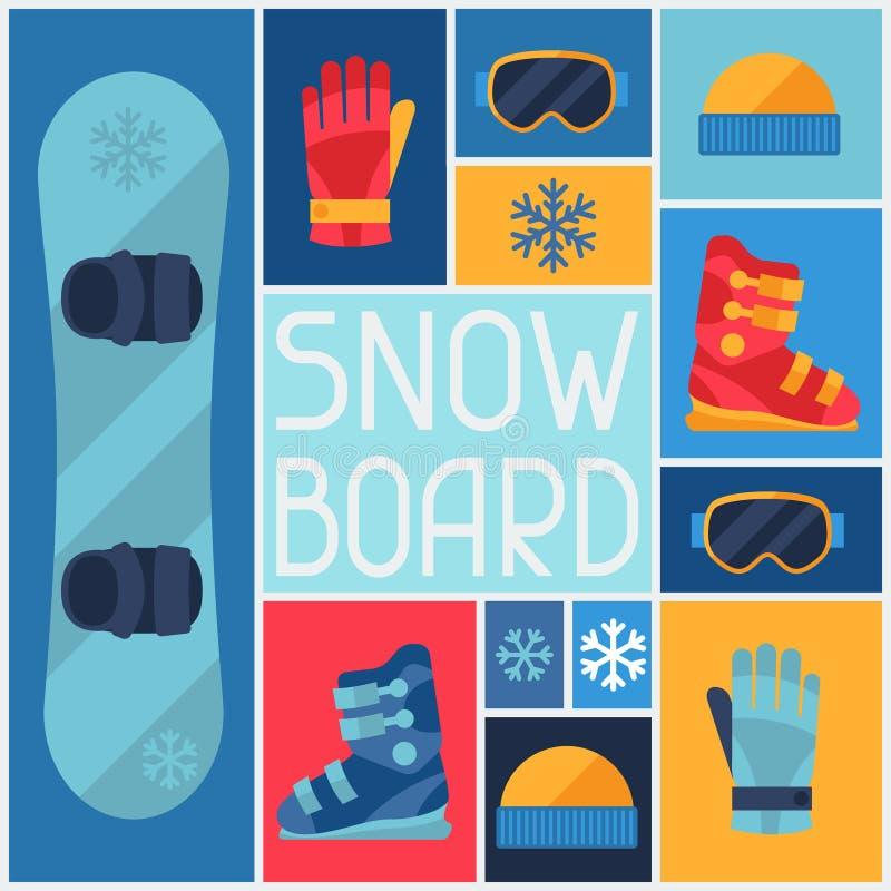 Bawi się tło z snowboard wyposażenia mieszkaniem royalty ilustracja