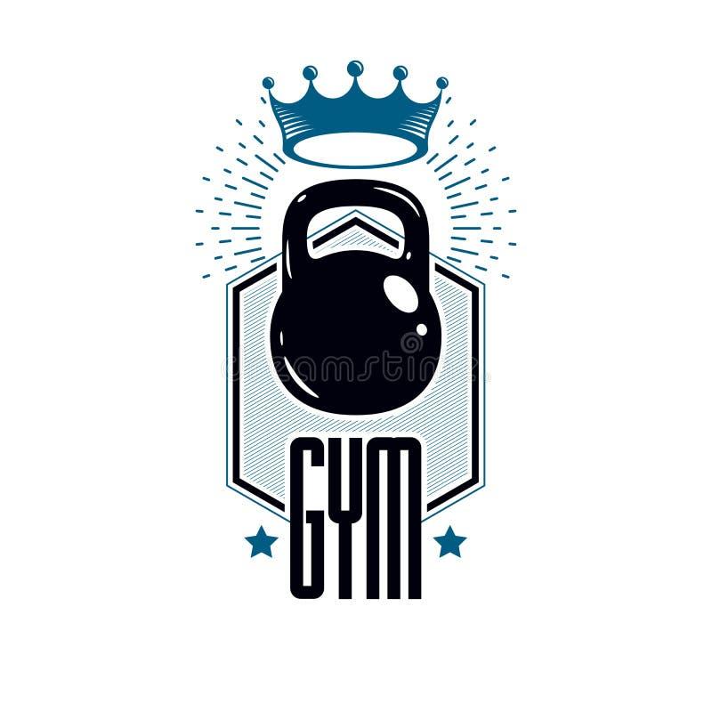 Bawi si? loga dla, retro stylizowanego wektorowego emblemat lub odznak? weightlifting gym i sprawno?? fizyczna klubu, royalty ilustracja
