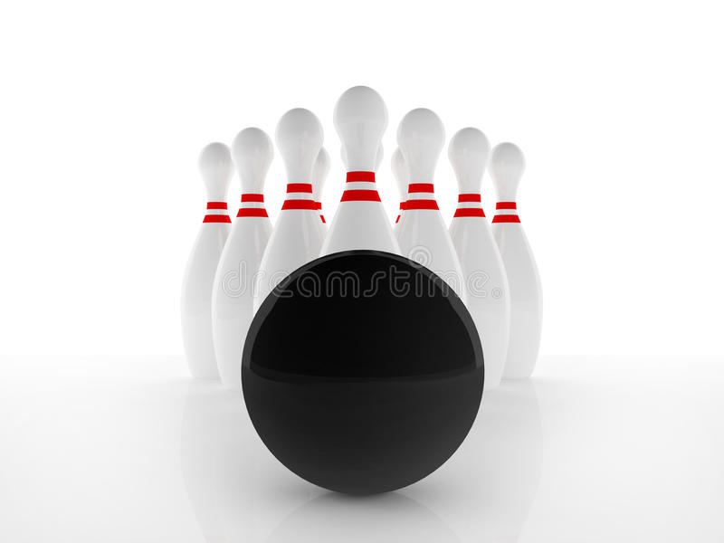 Bawl and pin. Ten pin and black polished bowl on white background royalty free illustration