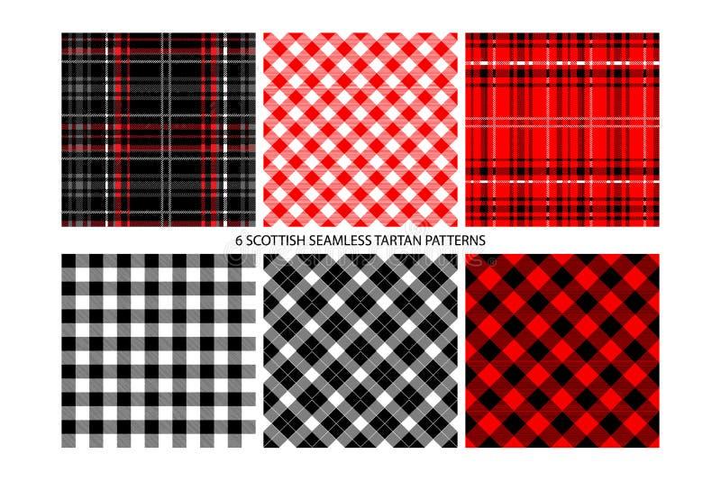 Bawoli czek szkockiej kraty wzory royalty ilustracja