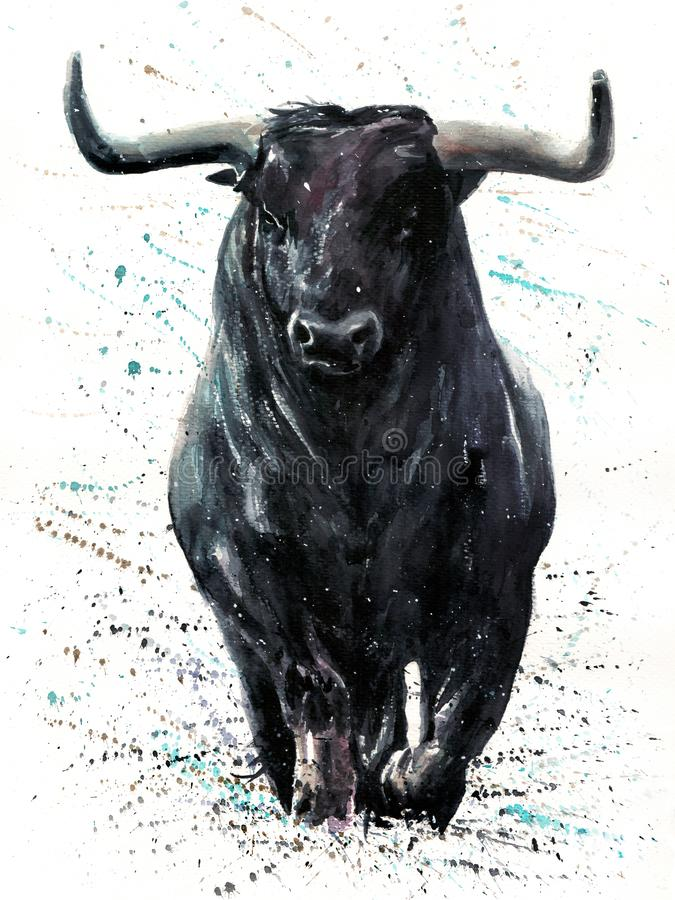 Bawoli czerń z tło byka akwareli obrazem z tłem, zwierzę przyroda, ilustracja wektor