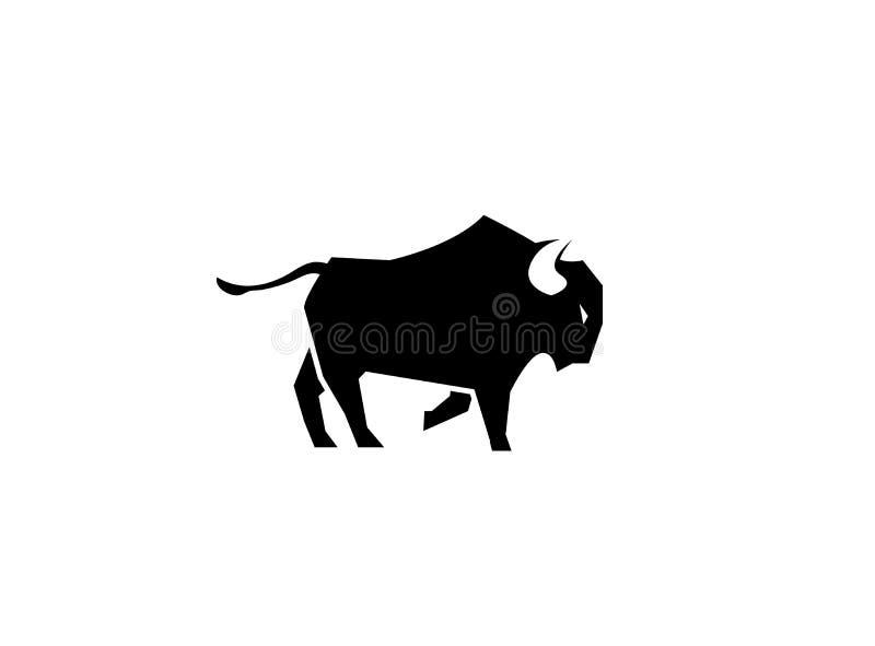 Bawoli kopanie z stopą lub byk dla logo czarny i duży ilustracja wektor