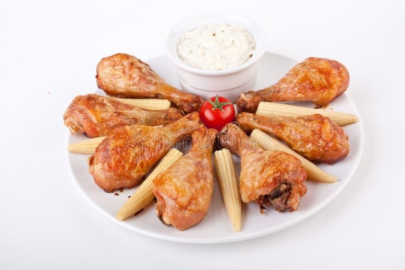 Bawoli kurczaków Drumsticks z Kremowym kumberlandem obrazy royalty free