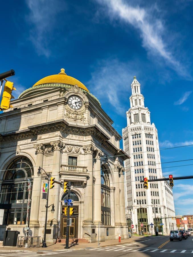 Bawoli Savings bank, historyczne neoklasyczne sztuki buduje - NY, usa obrazy stock