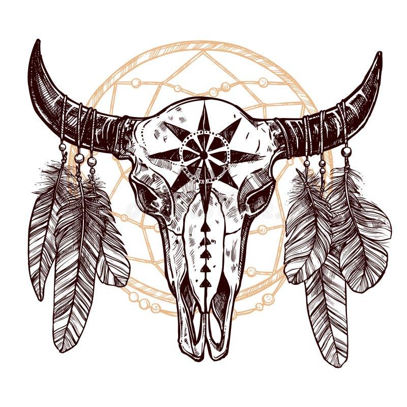 Bawolia czaszka Z piórkami I Dreamcatcher ilustracji