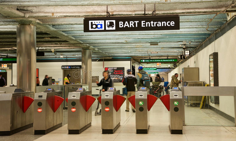 Bay Area Rapid Transit, BART, Powell Street Station, inside. San Francisco, CA - March 01, 2017: Entrance gates to Powell Street BART Station. Bay Area Rapid royalty free stock image