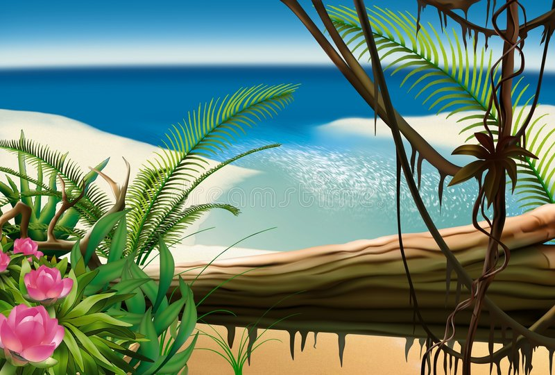 Download Bay Beach stock illustration. Image of tree, background - 7093849