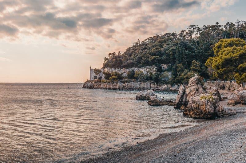 Bay, Beach, Castle, Coast, royalty free stock image