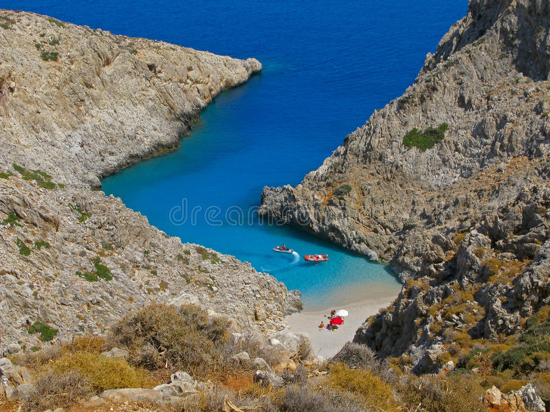 Greece, Crete, Seitan Limania beach, people royalty free stock photos