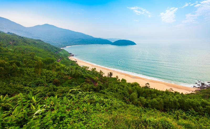 Bay beach near Hai Van pass. Beauty bay beach aerial panoramic view from the Hai Van Quan pass in Danang city in Vietnam stock photo