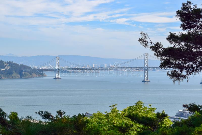 Bay Bridge from Coit Tower in San Francisco stock image