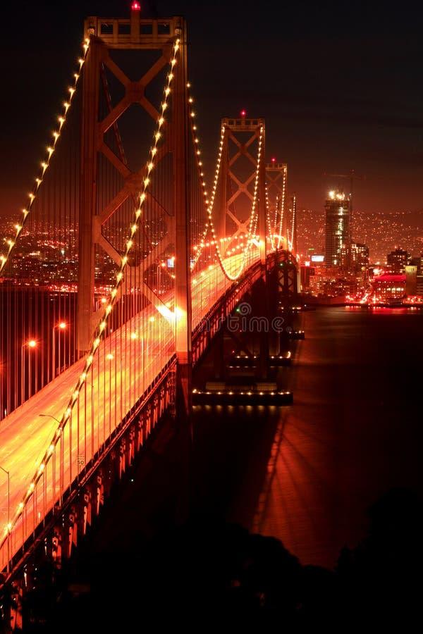 bay bridge night στοκ φωτογραφία