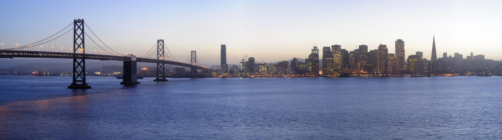 Download Bay Bridge And San Francisco Downtown, Sunset Stock Image - Image: 3907139