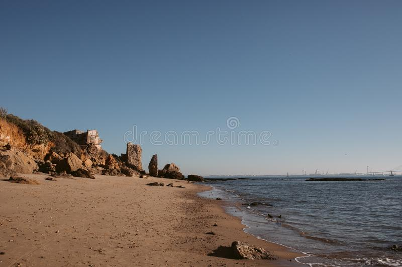 Bay of Cadiz. View of 1812 Constitution bridge at Cadiz from the beach. stock photos