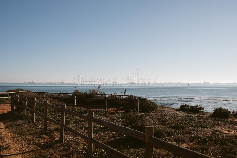 Bay of Cadiz. View of 1812 Constitution bridge at Cadiz from the beach. royalty free stock photos