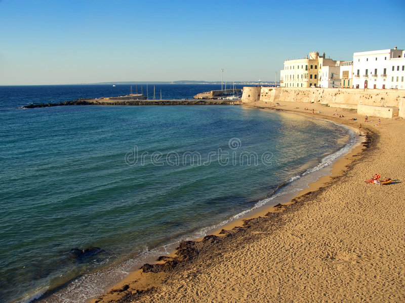 Bay and city beach in Gallipoli royalty free stock photo