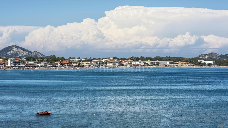 The bay of the city of Laganas on the island of Zakynthos Greec stock photos
