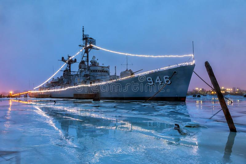 BAY CITY, MICHIGAN,USA-JANUARY 10: - USS Edson at night, is doc. USS Edson, docked in Bay City, Michigan at night. A Forrest Sherman-class destroyer, formerly of stock image
