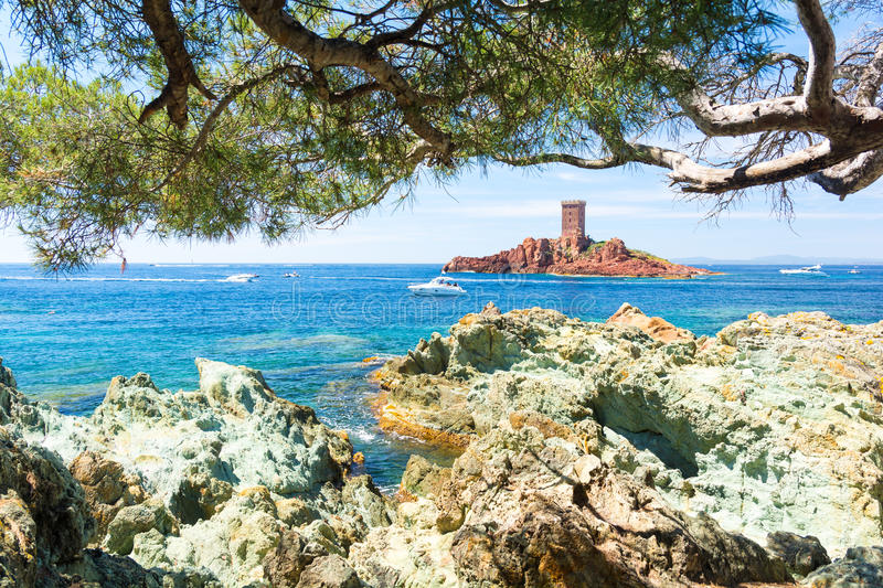 Bay at Frejus, Esterel massif, Cote d`Azur, French riviera, south france stock photos
