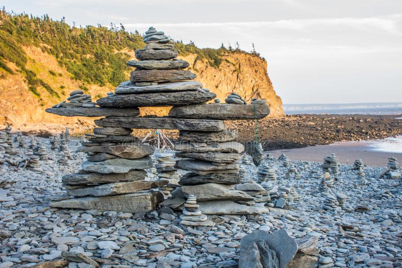 Man made rock statue on the bay of fundy royalty free stock image