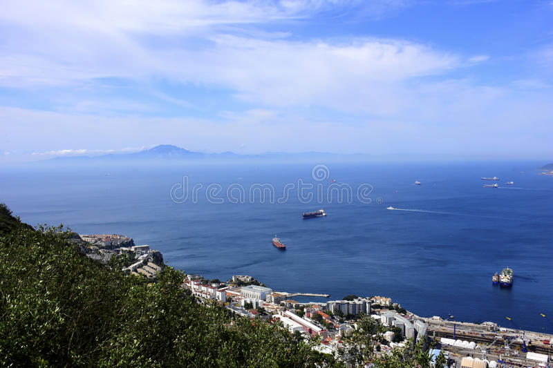 Bay of Gibraltar. And in the distance, Morocco and North Africa stock photography