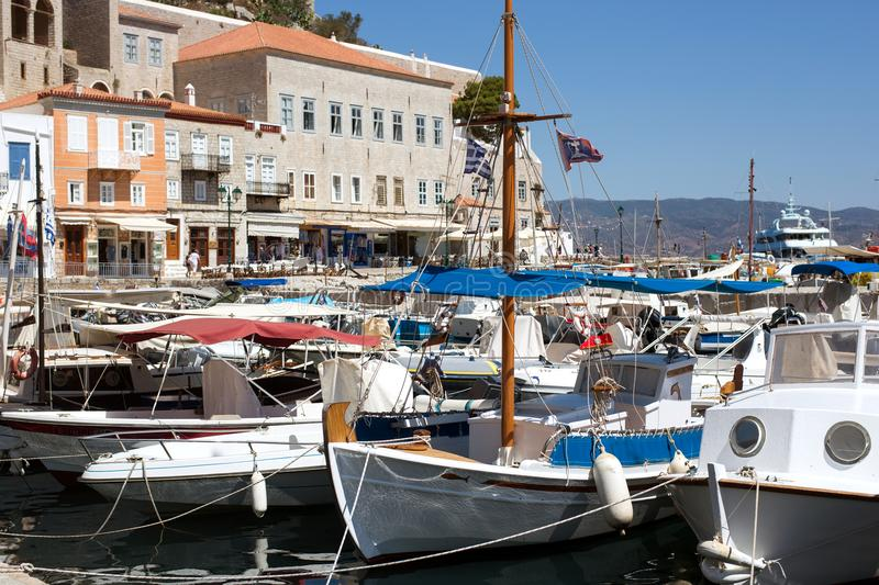 Bay on the Greek island of. Bay on the Greek island with the boats stock images
