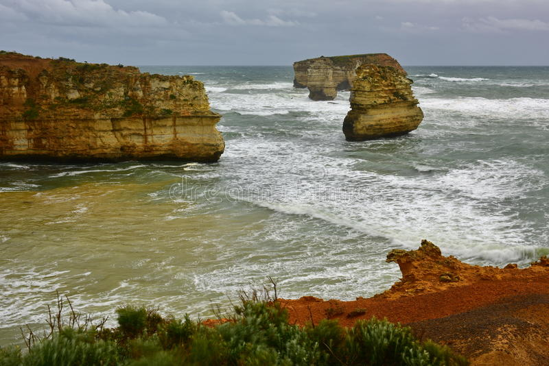 Bay of Islands Coastal Park features limestone cliffs and stack formations in Victoria royalty free stock photo