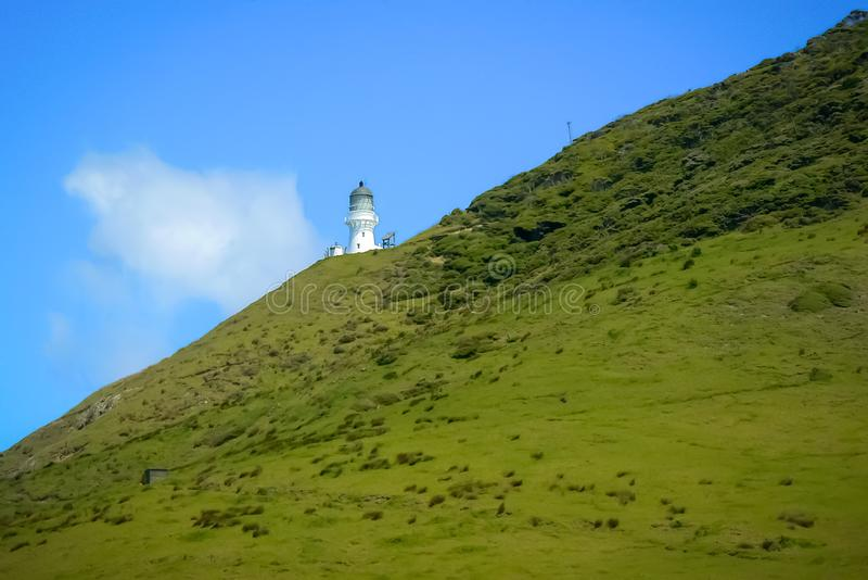 Bay of Islands: green fields, blue sky, white lighthouse, New Zealand. Landscape view at the Bay of Islands: green fields, blue sky and white lighthouse, North royalty free stock photo