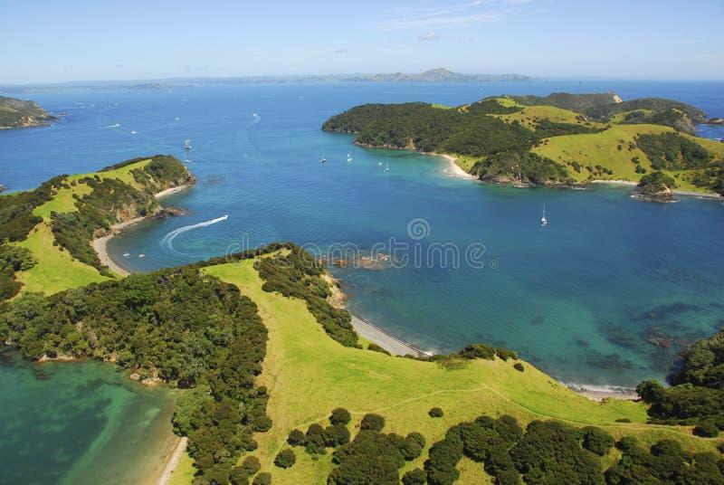 Bay of Islands, New Zealand. Okahu Passage - Bay of Islands, New Zealand. Aerial stock photo