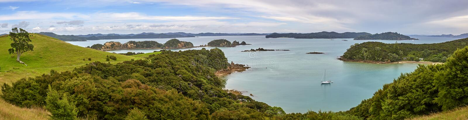 Bay of Islands New Zealand. Panoramic view from Urupukapuka Island in the Bay of Islands New Zealand stock photo