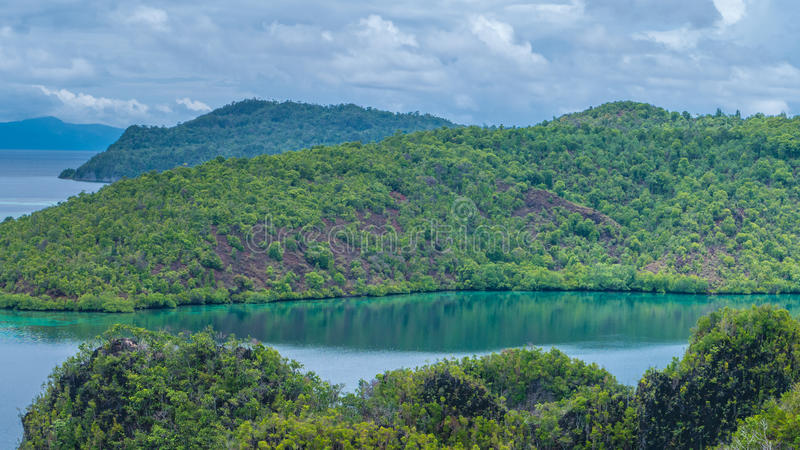 Bay between Islands in Peanemo, Raja Ampat, West Papua, Indonesia royalty free stock photos