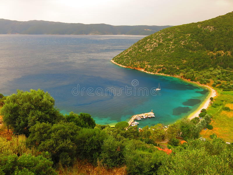 Bay on Ithaca Island. Bay along shoreline of Ithaca Island on the Ionian Sea in Greece royalty free stock photography