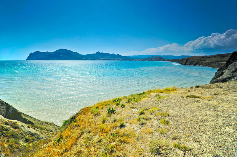 Download Bay Of Koktebel, In The Background Extinct Volcano Karadag Royalty Free Stock Photography - Image: 28477117